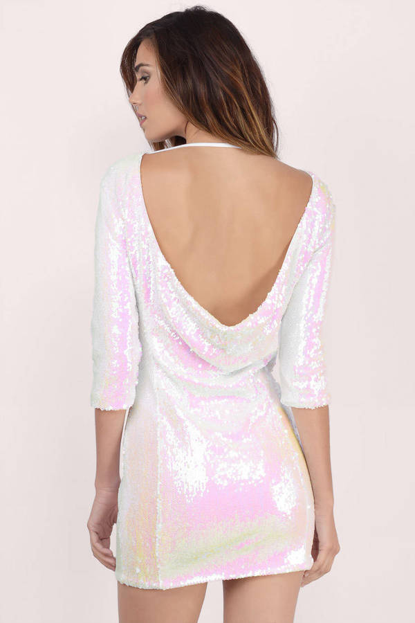 Cute White Dress Sequin Dress Metallic White Dress