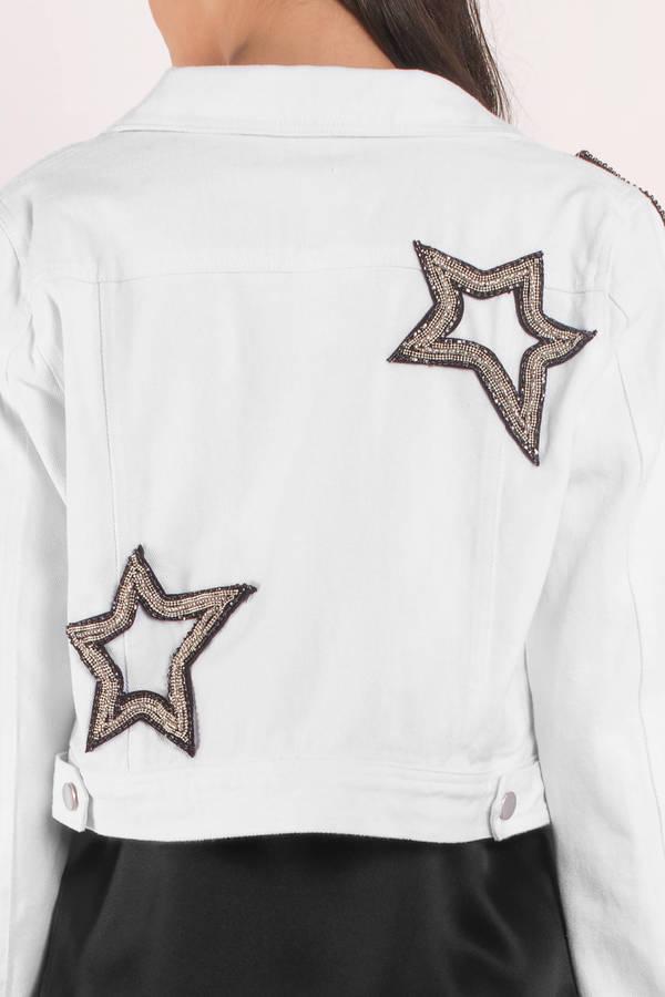 White jean jacket with cocktail menu on back | Kläder