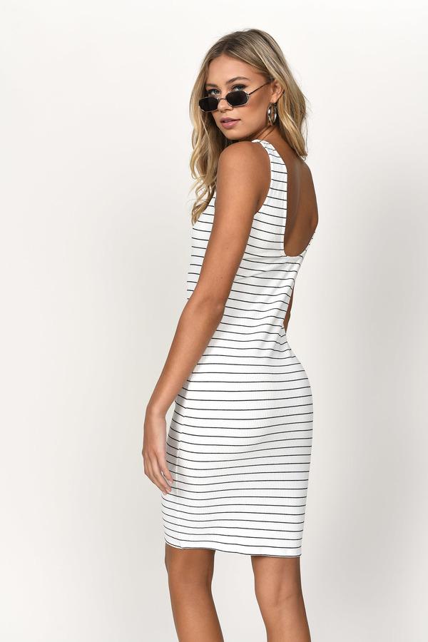 Black And White Dress Ribbed Dress Midi Stripe Dress