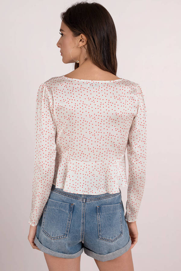 aa13fd99e437c White Blouse - Long Sleeve Crop Top - Red   White Polka Dot Blouse ...