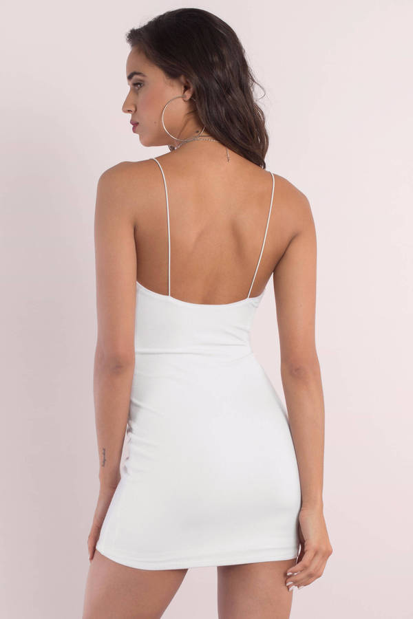 be891de861 Cute White Dress - Ribbed Dress - White Stretch Dress - Bodycon ...