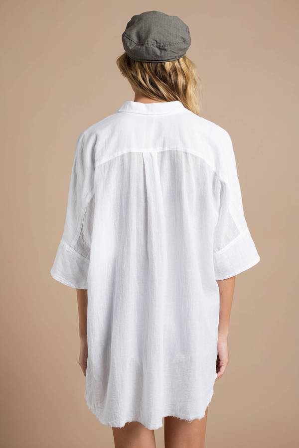 8dcc072c5795b4 White Blouse - Oversized Collared Blouse - White Free People Button ...