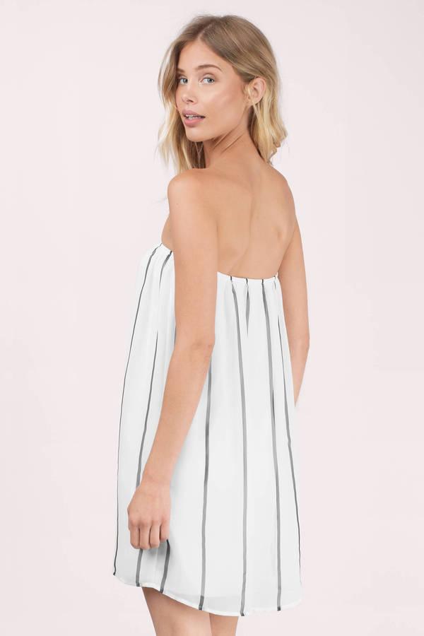 bef9729098 White Shift Dress - Nautical Striped Dress - White Strapless Dress ...