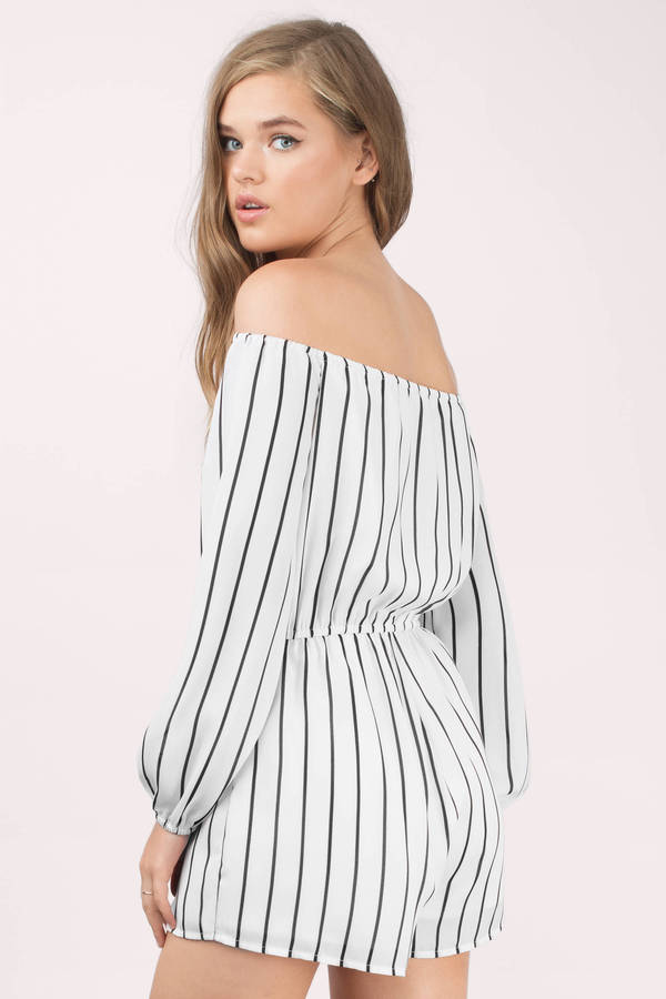 33fce5a70e34 Cute White Romper - Off The Shoulder Romper - White   Black Romper ...