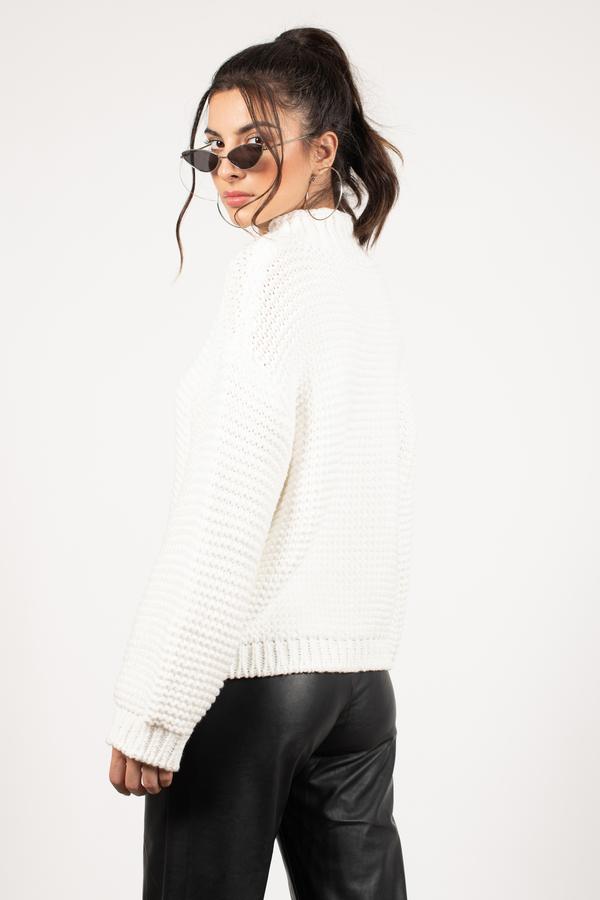 729c9a0dba0dba White Sweater - Slouchy Sweater - White Turtleneck Knit -  37