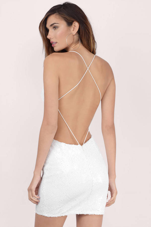 White Dress - Sequin Dress - Metallic White Dress - Bodycon Dress ...