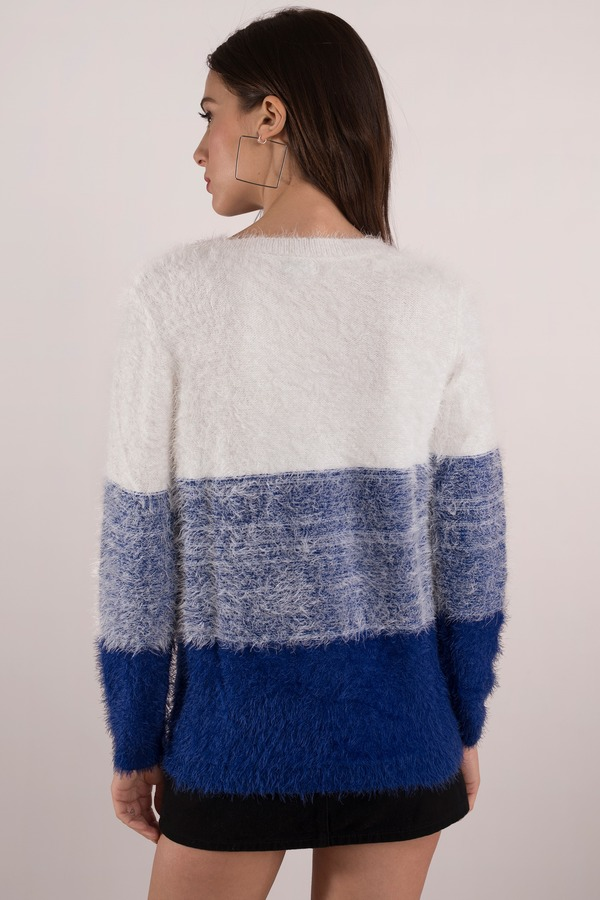 White & Cobalt Sweater - White Sweater - Long Sleeve Sweater - AU ...