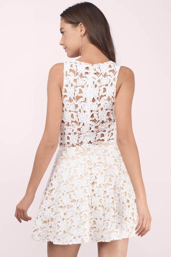 trendy white skater dress lace up dress skater dress