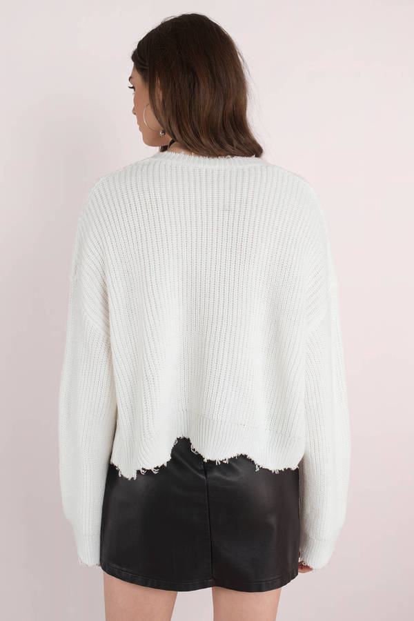 Distressed Out White Cropped Sweater - $32 | Tobi US