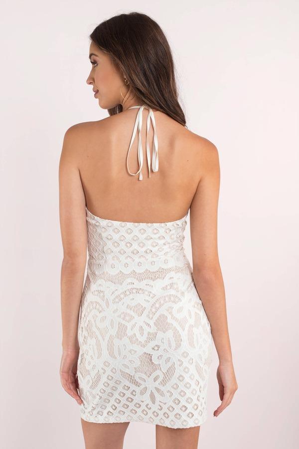 bfb2b155c0 Sexy White Bodycon Dress - Plunging Neckline - White Backless ...