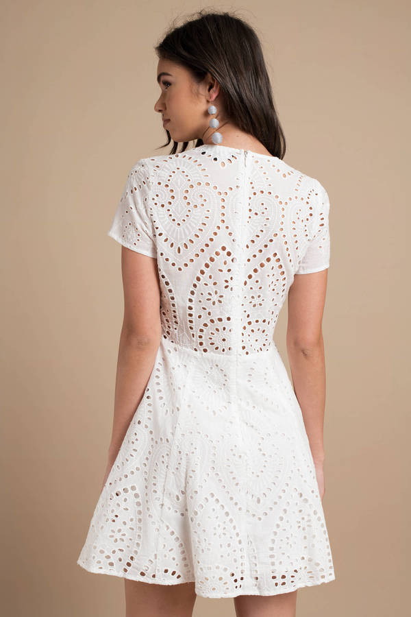 013f7bab21e Cute White Casual Dress - Eyelet Dress - White Front Tie Dress - £48 ...