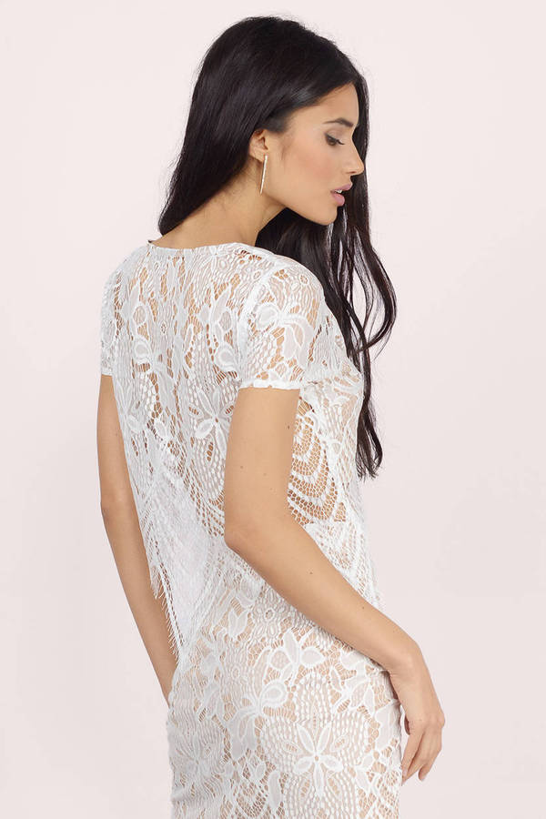 fc6c29758d1 White Top - Scallop Top - Lace Short Sleeve Top - White Crop Top ...