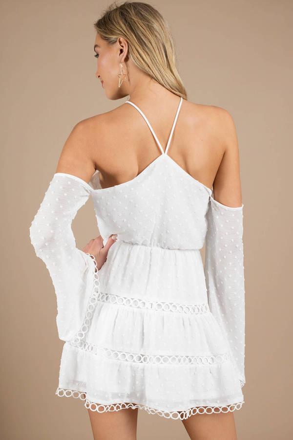 a6f4e3f233 White Skater Dress - Halter Dress - White Polka Dot Dress -  49 ...
