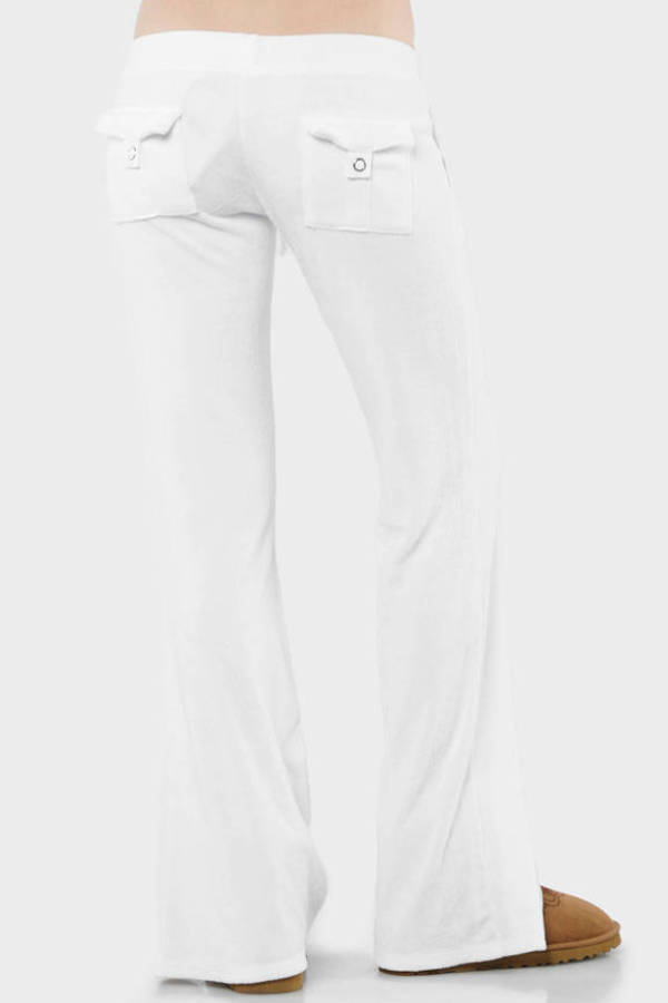 White Juicy Couture Pants - Bell Bottom Sweatpants - White Flared ... 76c932298991