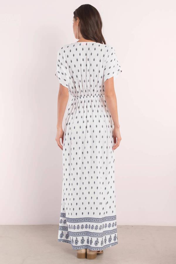 d3f230bfe0a Cute White Dress - Wrap Dress - Printed White Dress - Chic Maxi ...
