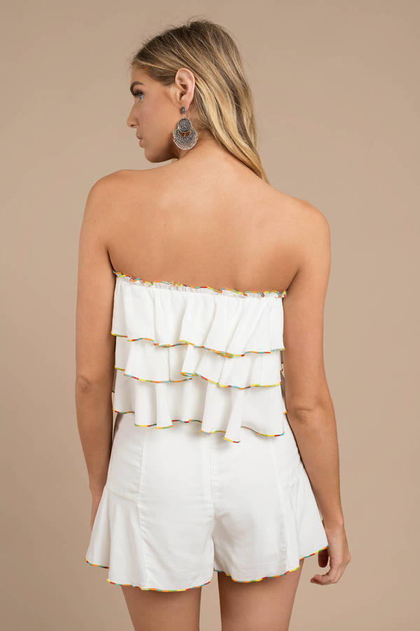 c516bcbbfb018 White Crop Top - Strapless Top - White Tiered Top - Tube Top - £27 ...