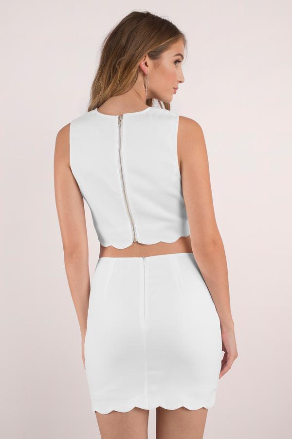 e3a2a1c45 White Dress - Scalloped Dress - Two Piece Midriff Dress - Bodycon ...