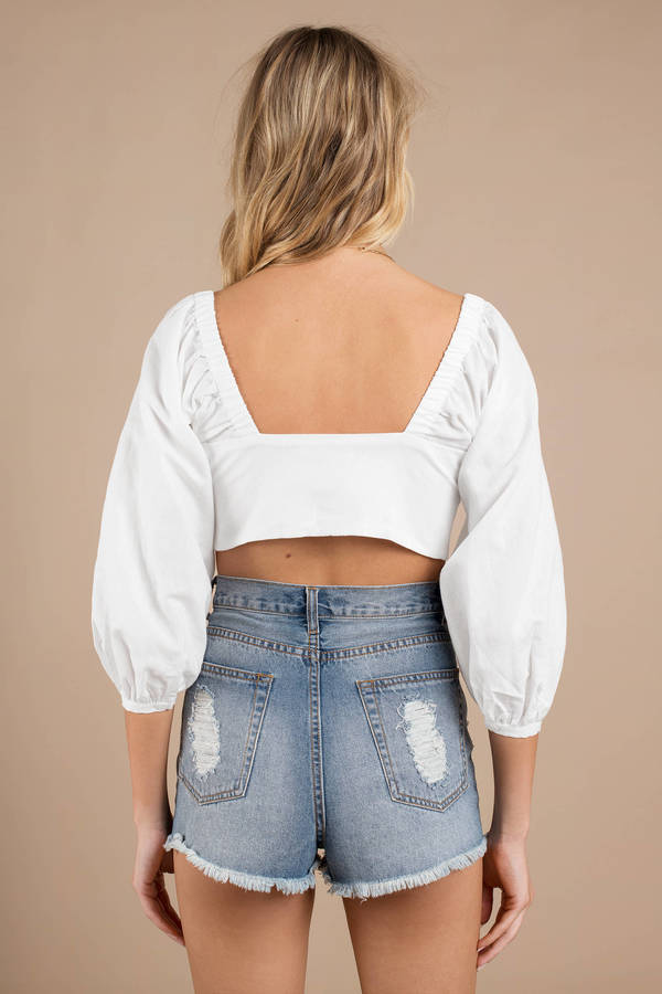 0e7365a2a99 Capulet Crop Top - Puffy Sleeve Crop Top - White Front Tie Crop Top ...