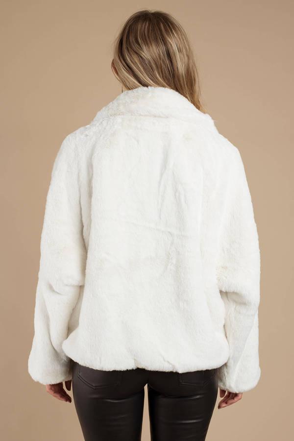 White Tiger Mist Jacket Fluffy Jacket White Faux Fur