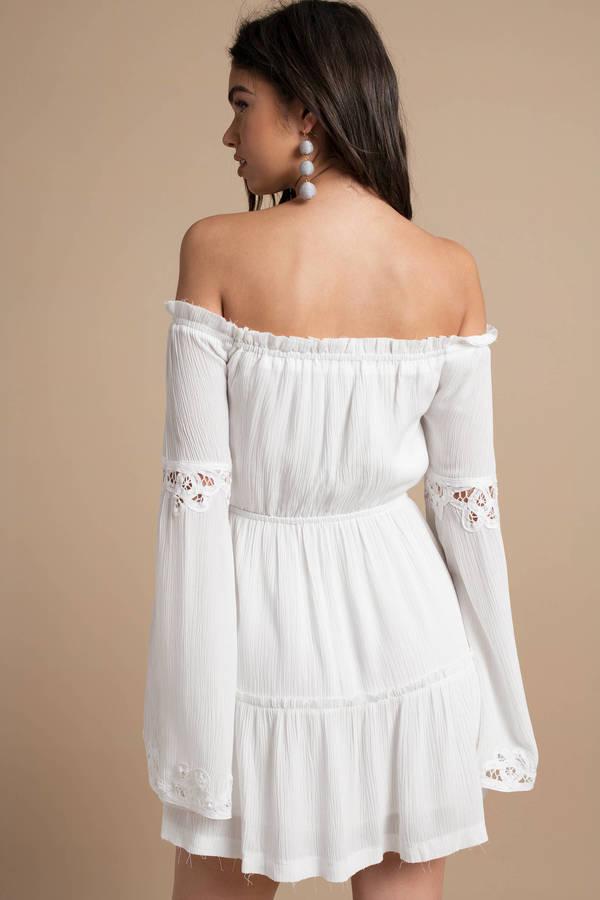 White Skater Dress - Bell Sleeve Dress - White Off Shoulder Dress ... a8d6014e8