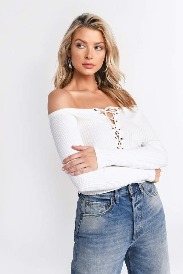 f9c527f08e2 White Top - Ribbed Knit Top - Lace Up Off Shoulder Top - White Long ...