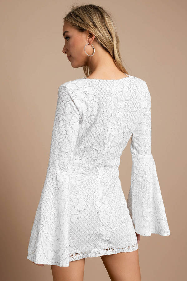 White Bodycon Dress - Long Sleeve Embroidered Dress - White Lace ... 5b12b292d