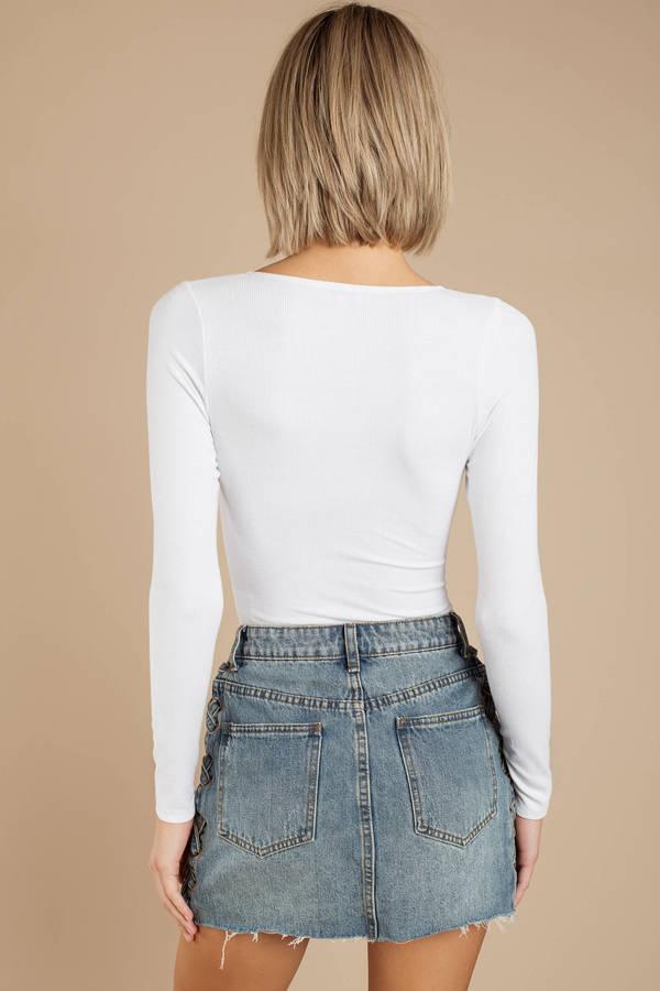 33e6f1444f White Bodysuit - Long Sleeve V Neck Bodysuit - White Sweetheart ...