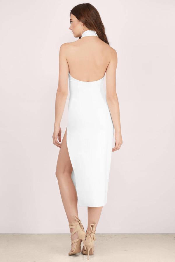 Sexy White Midi Dress White Dress High Slit Dress