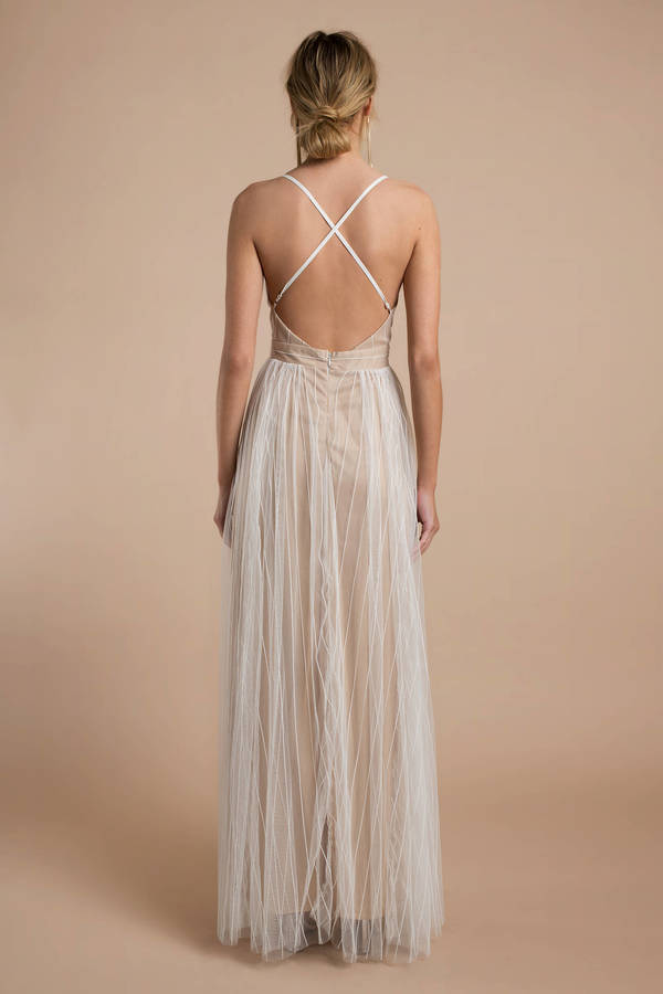 ba47f6315abf Nude Maxi Dress - Tulle Dress - Elegant Nude Maxi Dress -  128