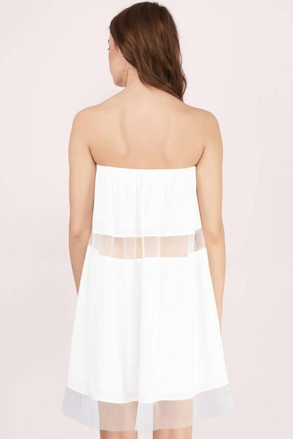 Sexy White Day Dress - White Dress - Strapless Dress - Day -6992