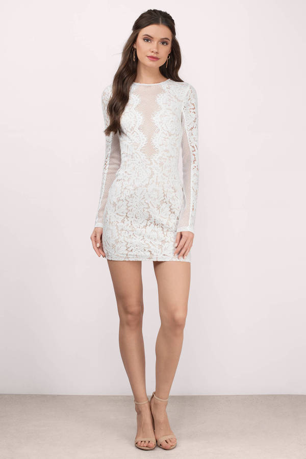 Cute Dress - Lace Bodycon Dress - Long Sleeve - White Dress - $36 ...