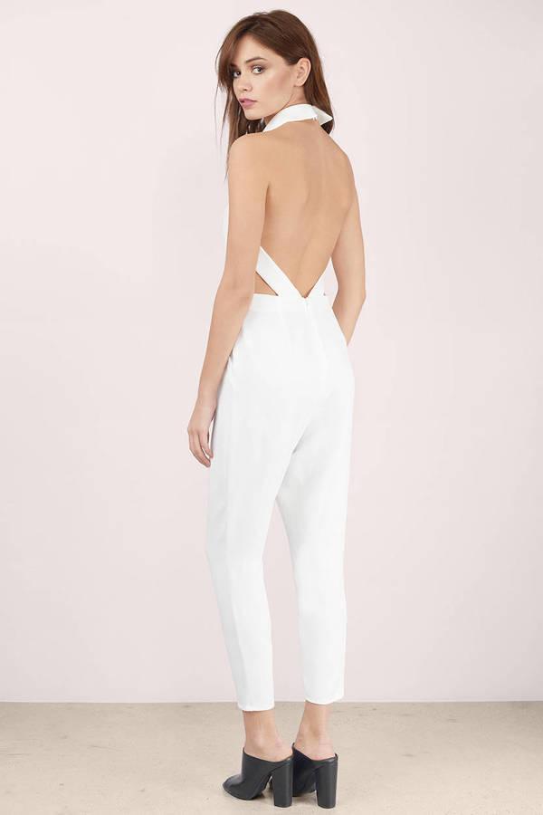 White Jumpsuit Open Back Jumpsuit Backless Jumpsuit