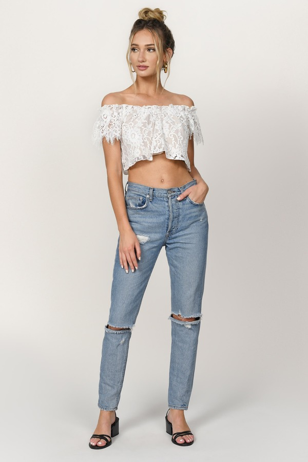 4d9576e417b Lovely White Crop Top - Lace Crop Top - White Off Shoulder Top - $16 ...