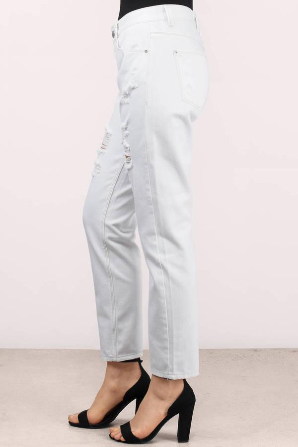 Trendy White Denim - Distressed Denim - White Denim - $80.00