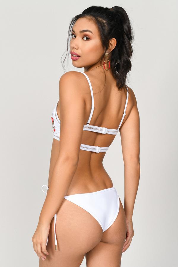1cd8d6ec06 White Bikini Bottom - Floral Embroidered - White Side Tie Swimsuit ...
