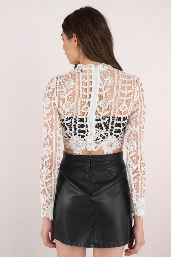 Trendy White Crop Top White Top Long Sleeve Top
