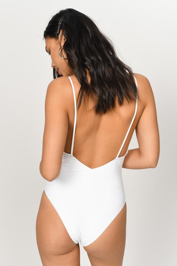 b5bae4273b46f White One Piece - Ruffled One Piece - White Plunge Neck Swimwear ...
