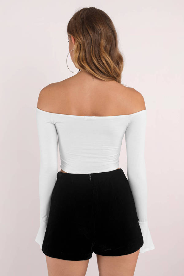 bf5f8860ce96fc Trendy White Crop Top - Off Shoulder Top - White Bell Sleeve Top ...