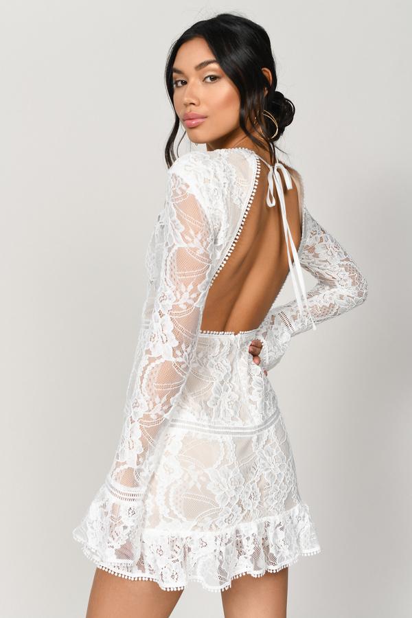 997cf7ecb54 White Bodycon Dress - High Neck Lace Dress - White Long Sleeve ...