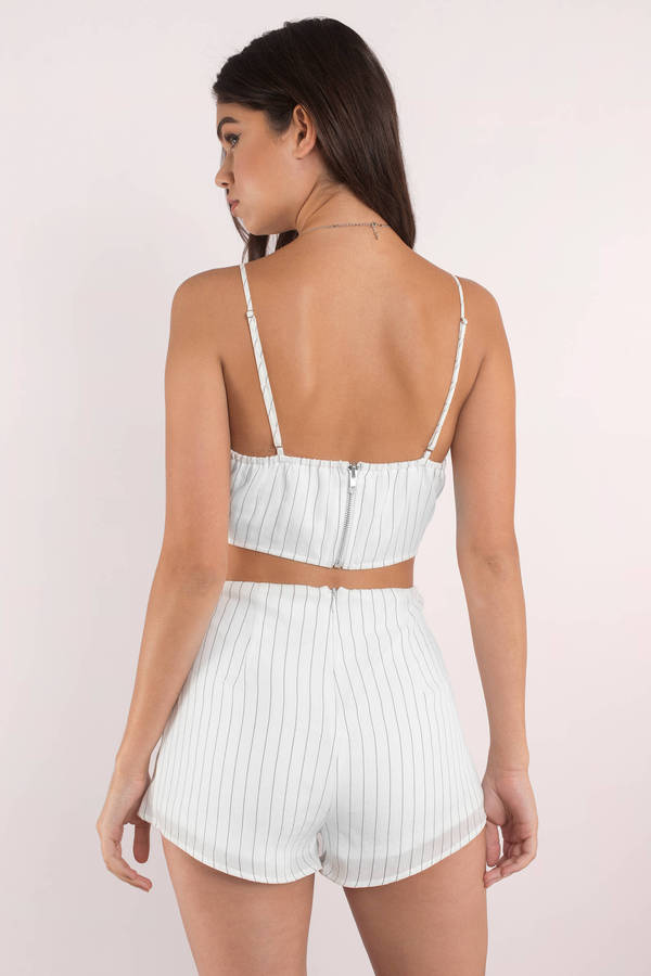 White Romper Set - Lace Up Romper Set - White Two Piece ...