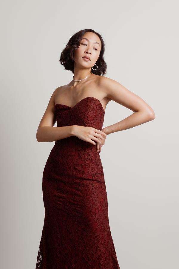 c863769cd5f4 Burgundy Maxi Dress - Lace Formal Dress - Burgundy Strapless Dress ...