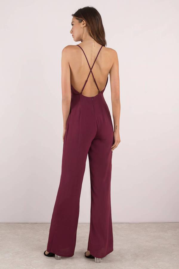 ef1128c8da12 Red Jumpsuit - Dressy Jumpsuit - Red Flowy Jumpsuit -  42