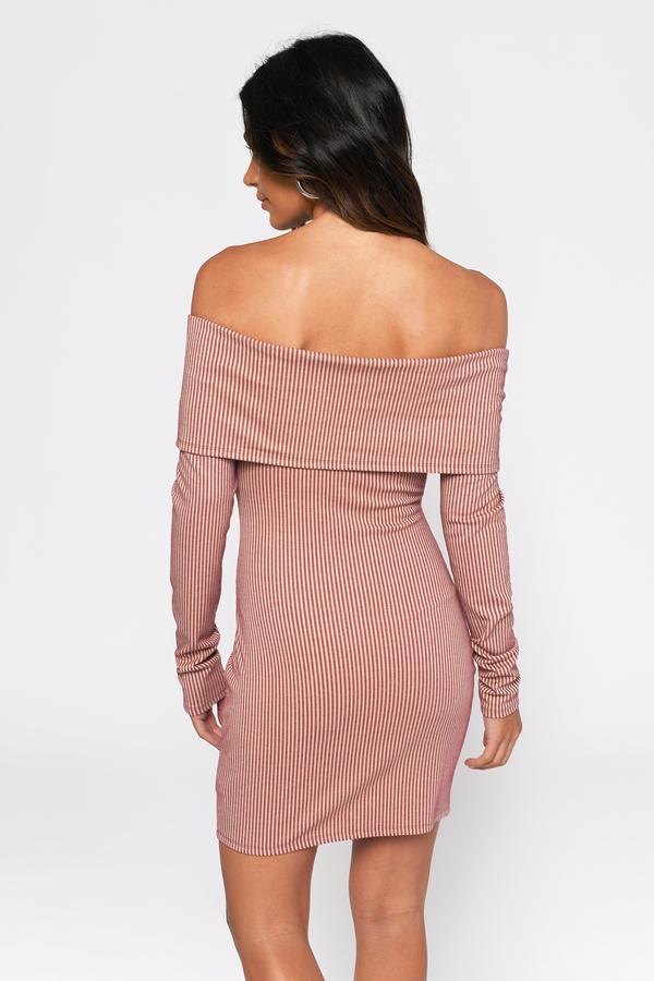 565af31022f4 Wine Bodycon Dress - Long Sleeve Dress - Wine Off Shoulder Dress ...