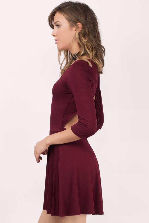 Cute Wine Dress Open Back Dress Wine Red Skater