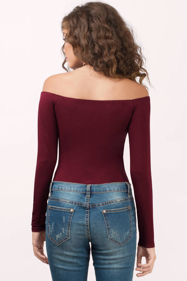 ae485cd4 Cute Wine Bodysuit - Ribbed Bodysuit - Wine Bodysuit - $14   Tobi US