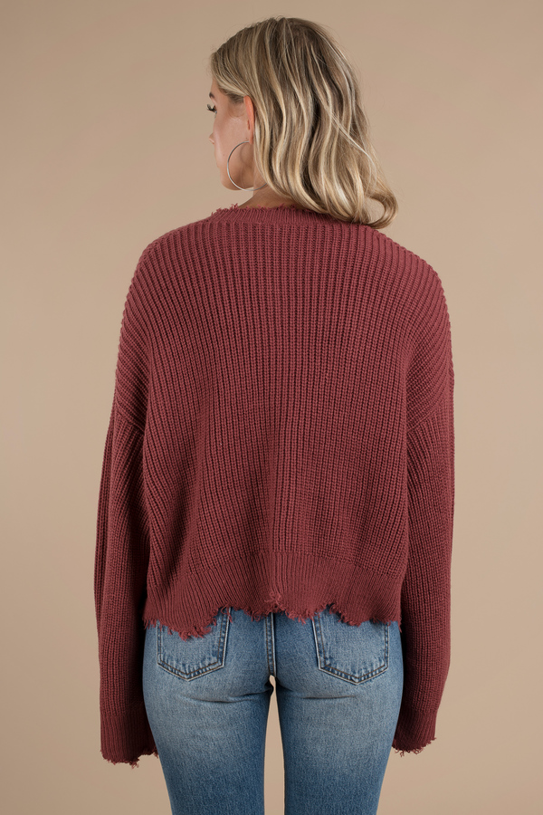 Distressed Out Pink Cropped Sweater - AU$ 125 | Tobi AU
