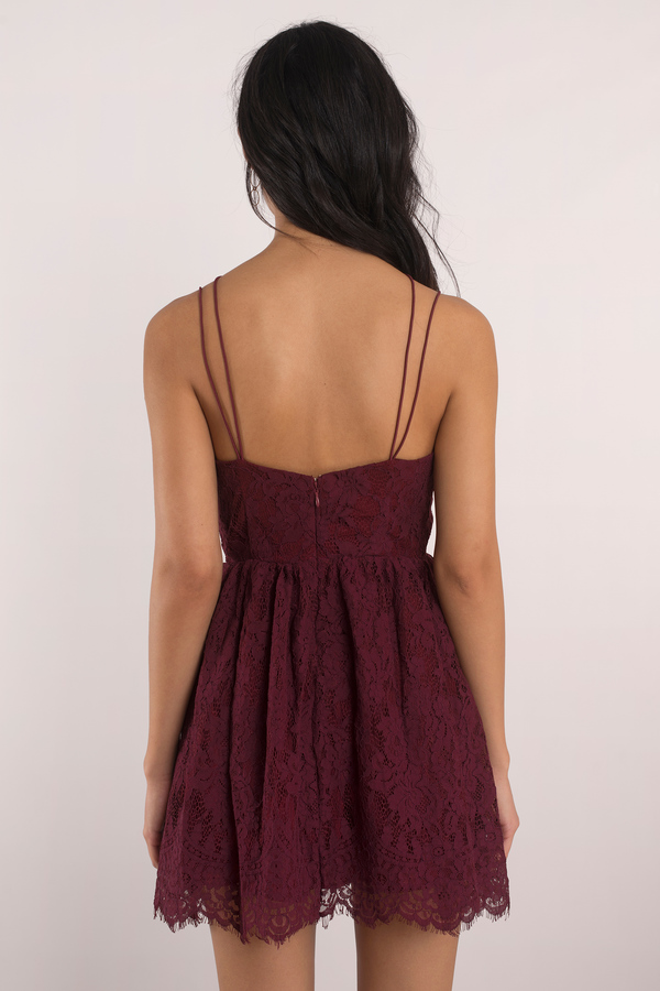 Cute Wine Dress - Dusty Dress - Wine Skater Dress - Wine Skater ... be69aa052