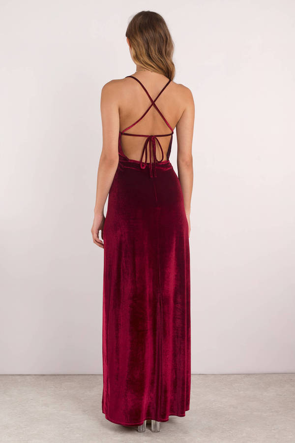 7bd23b4214 Red Maxi Dress - Velvet Maxi Dress - Red Cross Back Dress - C$ 52 ...