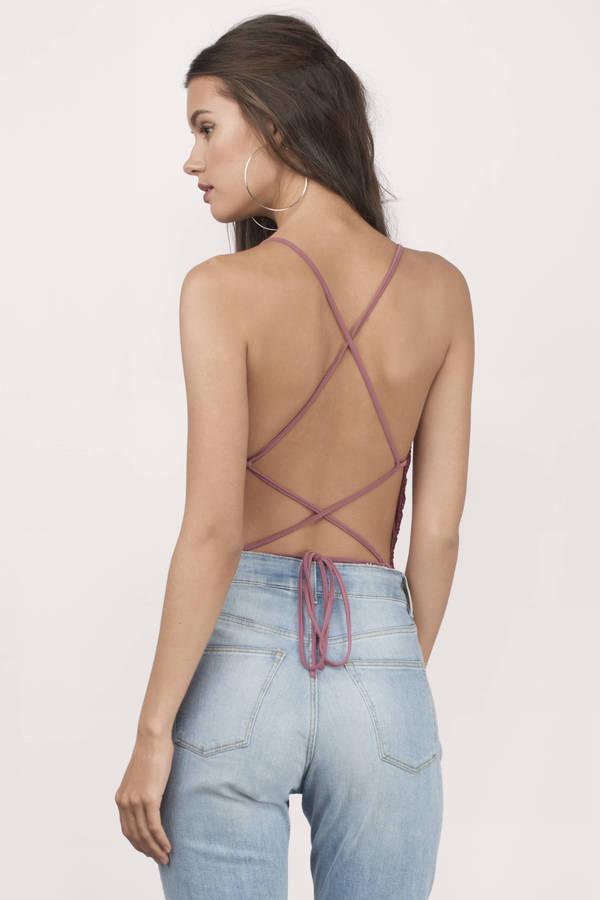 c9c619d3b8 Wine Bodysuit - Strappy Bodysuit - Lace Up Bodysuit - Cami Bodysuit ...