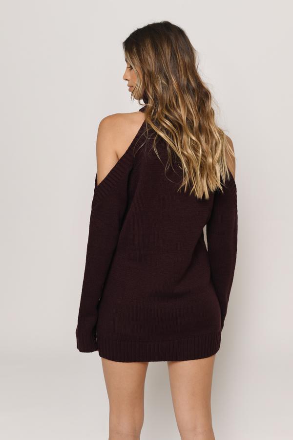 748c10dfb56 Wine Casual Dress - Cold Shoulder Dress - Wine Sweater Dress -  36 ...